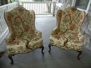 Woodmark Originals Vintage Embroidered Wing Chair Set High Back Mary Webb Wood
