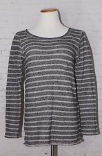 GAP Women's Striped Cotton Sweatshirt, Gray, Size S
