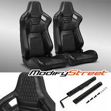 2 X Main Black Pvc Leather Stitching Lr Racing Bucket Seats Slider Fits Toyota Celica