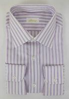NIB BRIONI Purple Striped Cotton Classic Fit Dress Shirt Size 41 EU 16 US $625