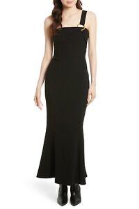 DIANE VON FURSTENBERG DVF Black One-Shoulder Fluid Gown Dress