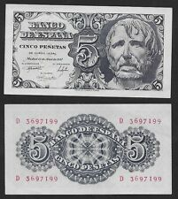 "5 Pesetas 1947 ""Séneca"". Serie D. nº 3697199. SIN CIRCULAR PLANCHA. ESCASO."