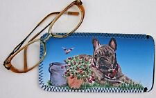 FRENCH BULLDOG BRINDLE DOG DESIGN GLASSES CASE POUCH SANDRA COEN ARTIST PRINT