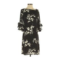 H&M Black & Blue Floral Ruffle Sleeve Shift Dress Women's Size 4 EUC