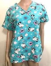 Sanrio Hello Kitty Medical Scrub Top Shirt Teal Light Blue Women's Size S Small
