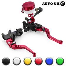"7/8"" 22mm Universal Motorcycle Brake Clutch Levers Master Cylinder Reservoir Red"