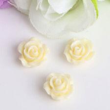 10x  Vintage Flatbacks Cabochon Rose  Flower Resin Lucite Cameo 10MM LB