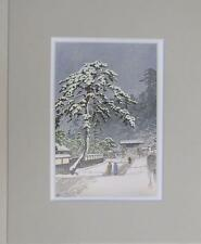 "Matted Print Kawase Hasui Japan Honmonji Temple in Snows 8 x 10"" Sealed Gray Mat"