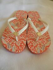 NEW AUTH TORY BURCH EMMARENTIA THONG FLIP FLOPS ORANGE & IVORY SIZE 7