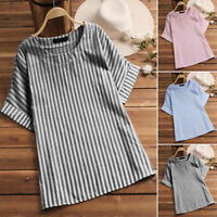 ZANZEA Women's Short Sleeve Stripe Summer T-Shirt Tops Round Neck Blouse Shirt