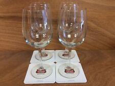 Stella Artois Cidre Wine Glass - Set of (4) 16 oz  & 12 Coasters ~ NEW & F/S