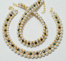 Gold Tone /Plated Party Wear Pearls Stones Kundan Women Pair Anklet /Payal Set