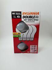 Sylvania  50046 Double Life Halogen Bulb, 60W,  A19 Soft White - 4 Bulbs