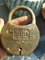 Antique Old Iron Miller Lock Made In Usa With Key Good Working Condition