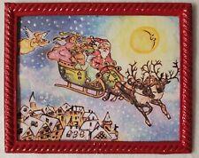 Dollhouse Miniature Artisan Painting 1:12 Framed Christmas Santa Watercolor