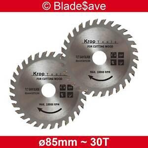 Milwaukee Circular Saw Blade Fine Cut TCT 85mm x 15mm x 30T by KROP (2 Pack)