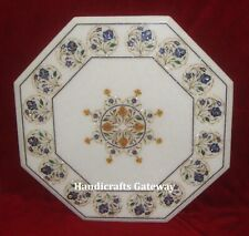 Octagonal Marble Inlay Table Top, Decorative Mother Of Pearl Inlay Art Table Top