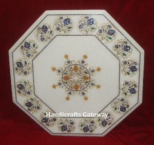"""22"""" Inch Marble Inlay Table Top, Decorative Vintage Stone Inlay Art Table Top"""