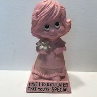 Vintage 1973 Resin Statue Figurine Russ Wallace Berrie Pink Girl You're Special