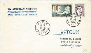 FRANCE REPUBLIQUE FRANCAISE 1963 AUSTRIAN AIRLINES FIRST FLIGHT COVER CARAVELLE
