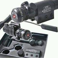 Tactical Red Dot Laser Sight Outside Adjust Rifle Gun Scope 2 Switch Rail Mounts