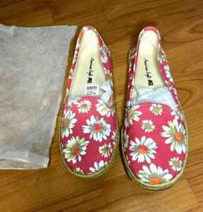 American Eagle Women's Floral Printed Canvas Slip On Shoes Pink White Size 8 1/2
