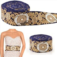 Hand Beaded Prom Dress Bridal Border 1 YD Trim Blue Craft Lace COLLECTIBLE EDH