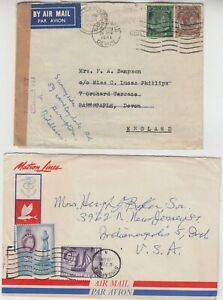 SINGAPORE 1941 censor cover to ENGLAND redirected 1958 MATSON LINES cover to USA