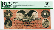 1863 - $10 COMMERCIAL BANK OF MEMPHIS TENNESSEE (PLATE A) -  VF35 PCGS