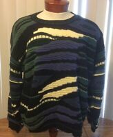 Protege Collection VTG 90s Biggie Hip Hop Sweater Pullover Multicolor Abstract