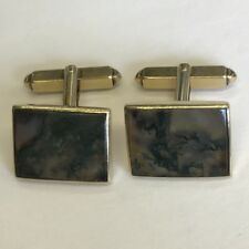 Unusual Vintage 9ct Solid Gold & Moss Agate Pair Of Cufflinks 1.7cm X 1.3cm