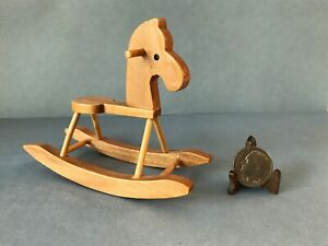 Vintage Natural Wood Wooden Rocking Horse Miniature Dollhouse Nursery Toy 1:12