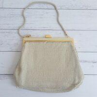 Glomesh Vintage Cream Gold Evening Handbag Clutch With Strap