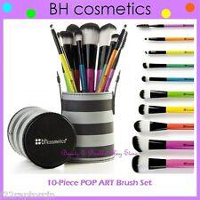 NEW BH Cosmetics 10-Piece POP ART Brush Set w/Striped Cup Holder FREE SHIPPING