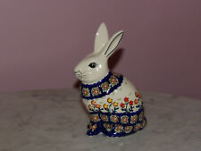 Polish Pottery Bunny Figurine! UNIKAT Signature Lucy Pattern!