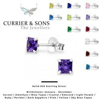 925 Sterling Silver Square Cubic Zirconia Birthstone Stud Earrings (4mm)