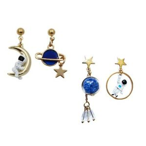 E1157 Betsey Johnson Lucky Blue Jupiter Saturn Spaceman with Moon Earrings US