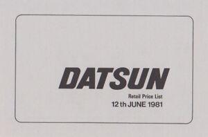 1981 Datsun Retail Price List - Cherry, Sunny, Violet, Skyline, 280C, 280ZX...