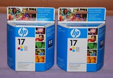 Lot of 2 Genuine HP 17 Tri-Color C6625A Ink Cartridge - New Sealed
