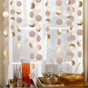 Champagne Circle Garlands Rose Gold Paper Banner Birthday Party Decoration Suppl