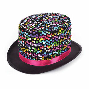 Adult Black Multi Coloured Sequined Top Hat Circus Ringmaster Performer Showgirl