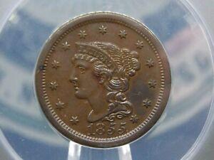 "1855 Large Cent 1c ANACS AU55 ""Slanted 55"" East Coast Coin & Collectables, Inc."