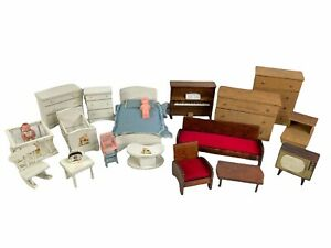 Lot Of Vintage Wooden Dollhouse Furniture Halls Lifetime Toys Nursery, Bedroom