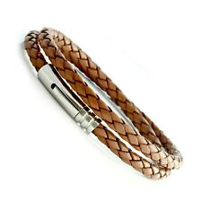 Mens Leather Bracelet-Stainless Steel Clasp-Light Brown Double Wrapped