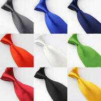 Men Solid Bright Color 8cm Wide Satin Neckties Formal Wedding Party Neck Ties