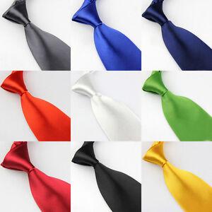 Men Solid Bright Color 8cm Wide Satin Neckties Formal Wedding Party Neck Ties