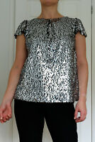 New Ex. Billie & Blossom Black Silver Sequin Evening Party Top