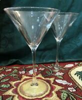 "SALE~ Pair of 2 Tall, Thick Glass Martini Glasses 7 7/8"" Tall"