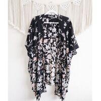 ANGIE size XS/S Floral Print Boho Open Front Oversized Kimono Black
