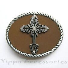 Cross w/ Rhinestones Jesus Christ Christian Metal Fashion Belt Buckle